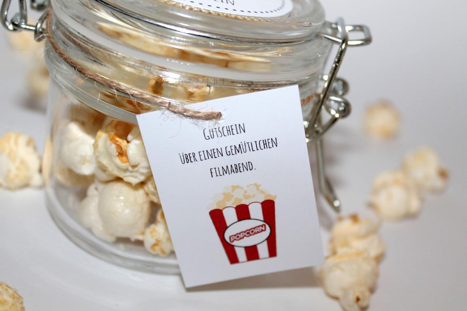 DIY, Basteln: Geschenke aus dem Glas Kinogutschein Popcorn in Adventskalender, Mitbringsel, Geldgeschenke und Geschenkideen - DIYCarinchen