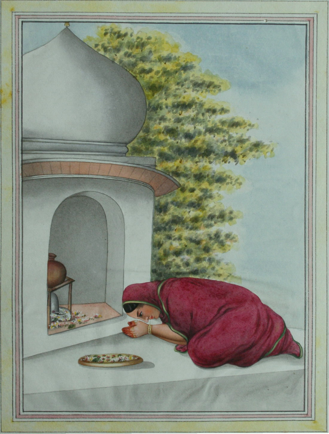 Lady Offering Flowers at a Shiv Shrine - Anglo-Indian at Lucknow c1820