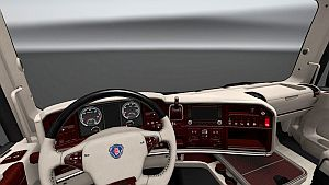 V8 White & Red Lux interior for Scania RJL & T