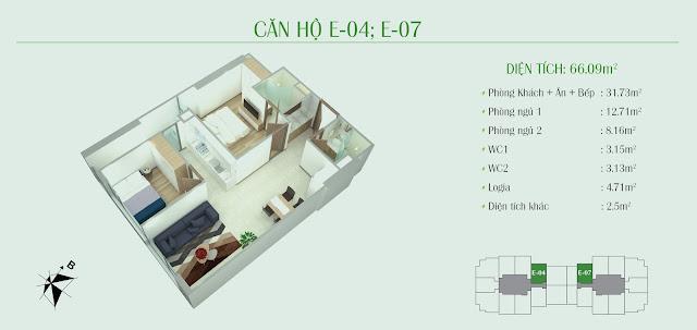 Thiết kế căn hộ 2 phòng ngủ, diện tích 66,09m2