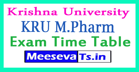 Krishna University KRU M.Pharm 2nd Sem Exam Time Table 2017