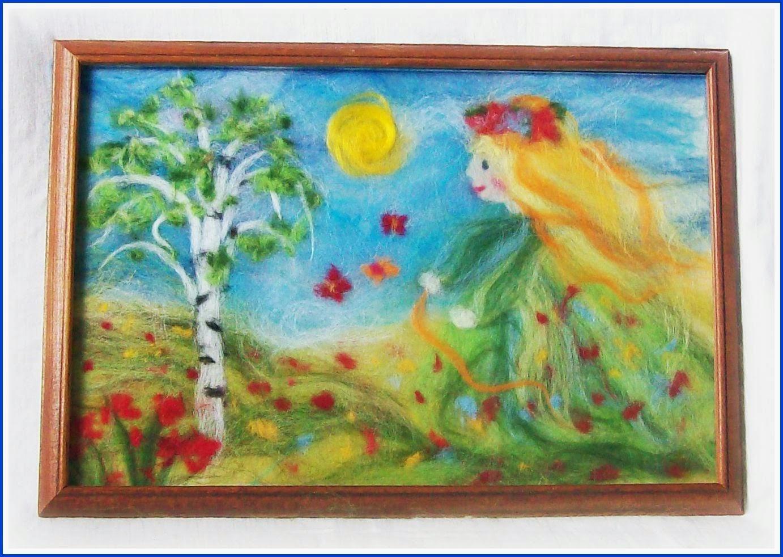 """картина из шерсти """"к нам весна шагает..."""""""