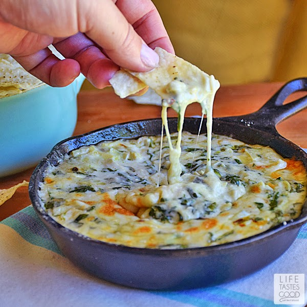 Skillet Spinach Artichoke Dip | by Life Tastes Good
