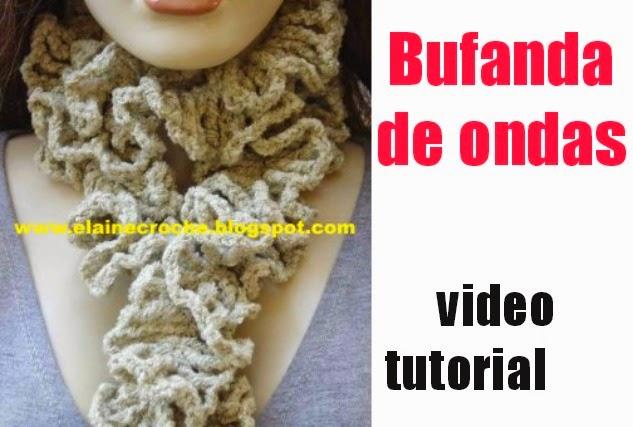 bufanda rizada, collar de lana, bufanda con ondas, crochet