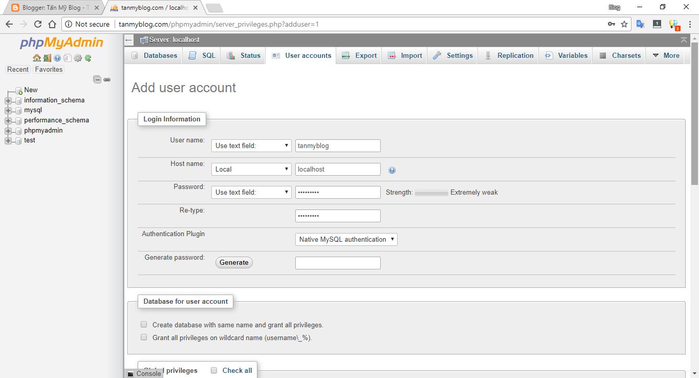 Hướng dẫn tạo tài khoản MySQL mới bằng phpMyAdmin trên XAMPP 4