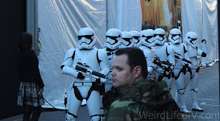 Members of the 501st Legion participating in the red carpet festivities for the Star Wars: The Force Awakens premiere