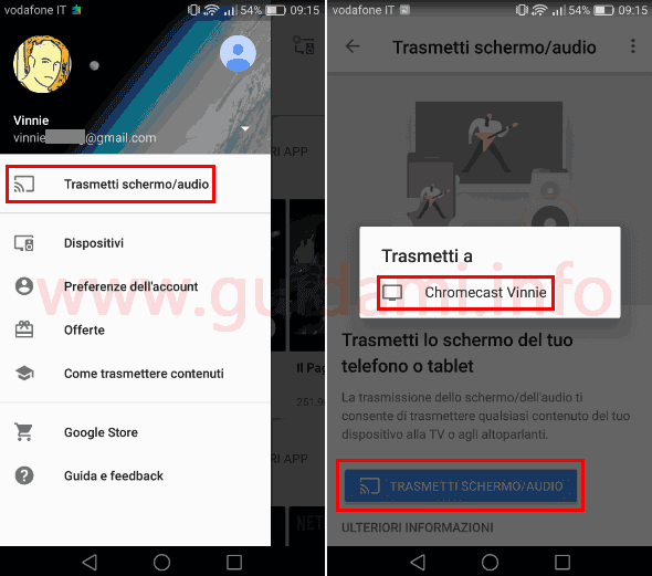 App Google Home Android trasmettere schermo audio a Chromecast