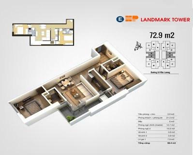 Mặt bằng căn hộ E 72,9m2 - HP Landmark - The Pride