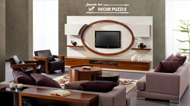 white modern TV stand, living room wall units