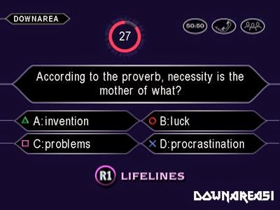 Who Wants to Be Influenza A virus subtype H5N1 Millionaire Screenshot Game Who Wants to Be a Millionaire ISO PS1