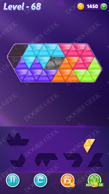 Block! Triangle Puzzle 6 Mania Level 68 Solution, Cheats, Walkthrough for Android, iPhone, iPad and iPod