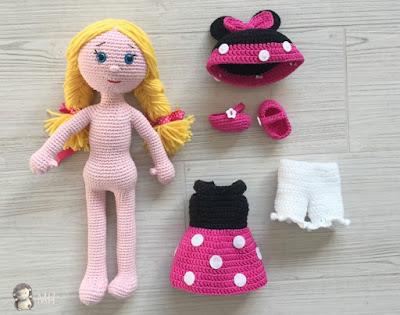 Muñeca Minnie amigurumi, ropita