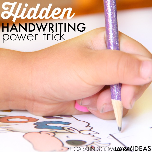 Pencil grasp trick that places a small item like an eraser in the palm of the hand.