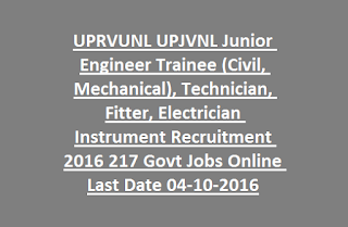 UPRVUNL UPJVNL Junior Engineer Trainee (Civil, Mechanical), Technician, Fitter, Electrician Instrument Recruitment 2016 217 Govt Jobs Online Last Date 04-10-2016