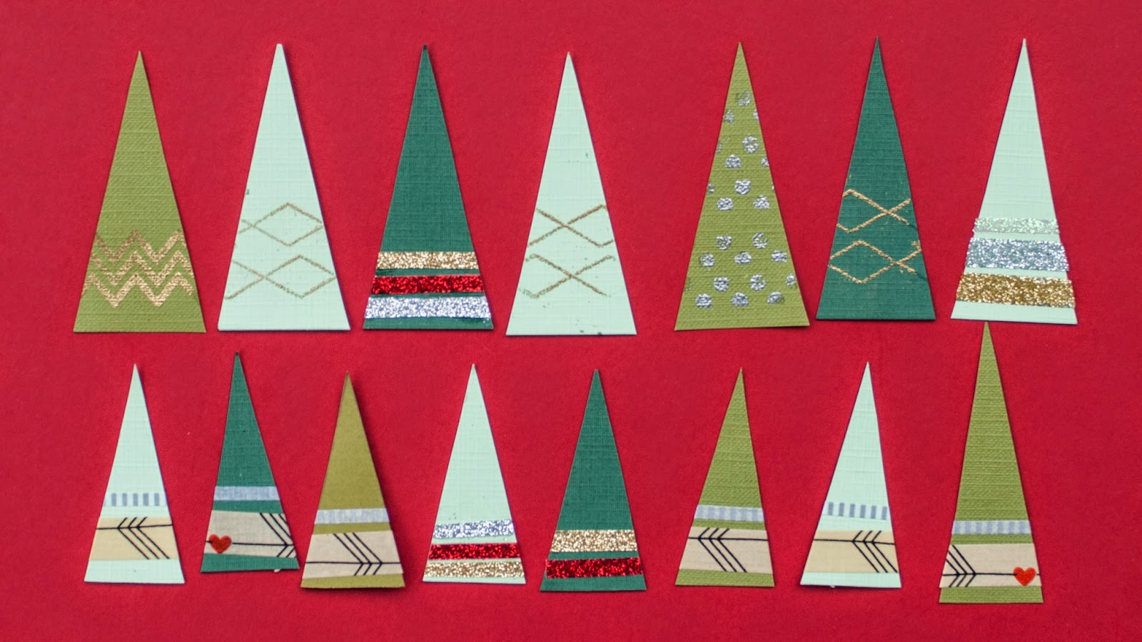 handmade christmas trees triangles using glitter and washi tape