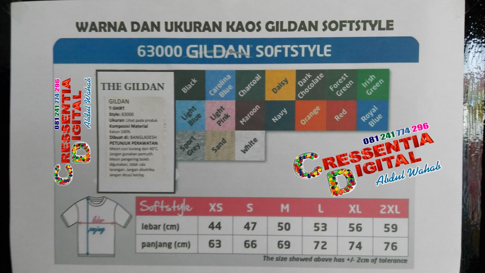 Ukuran Kaos Gildan