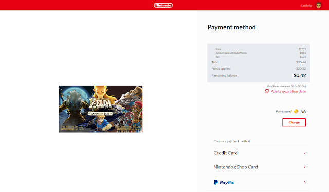 Nintendo eShop using gold points in purchase