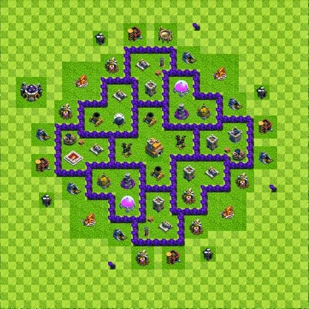 Tipe defense base layout town hall level 7 clash of clans jagat