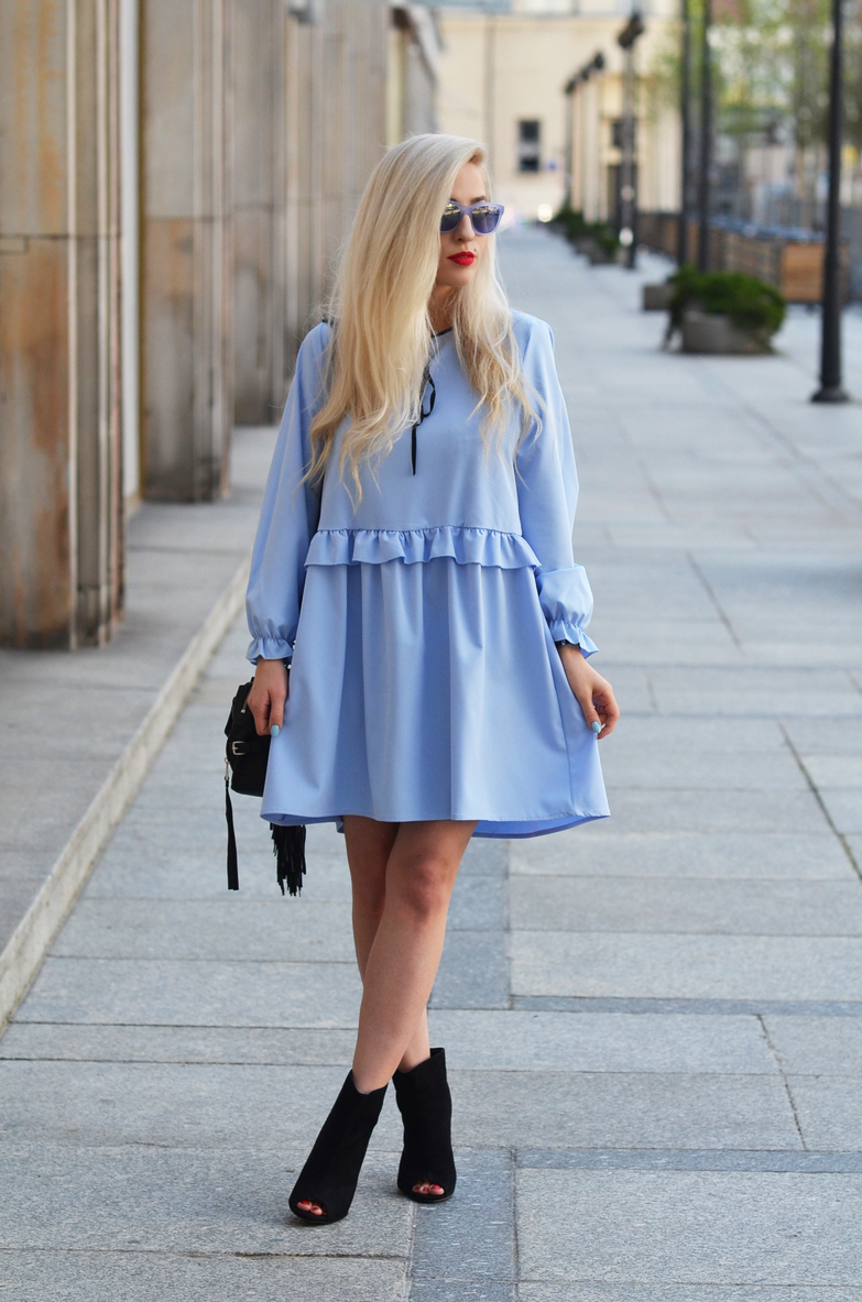 BABY BLUE OVERSIZED DRESS / błękitna sukienka oversize