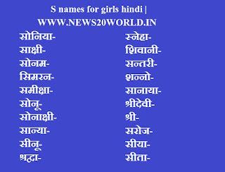 Top 150+ S name list Hindi.