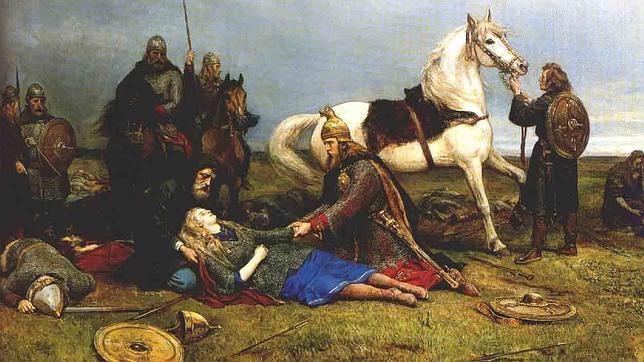 Pintura:  guerreira viking sendo amparada por homens vikings