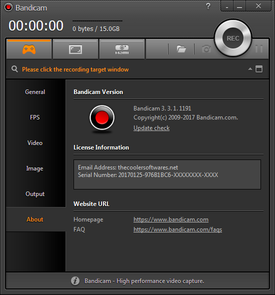Bandicam 3.3.1 Serial Number