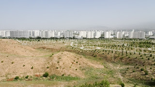 Turkmenistan has lot of land to cover it with white marble apartment blocks.
