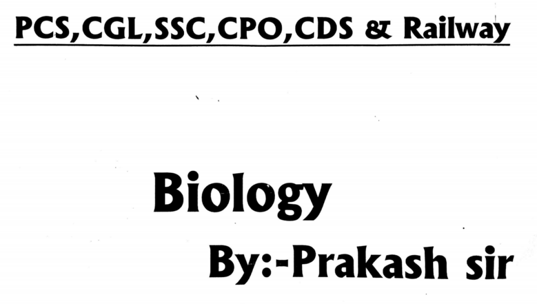 Prakash sir PCS-CGL-SSC-CPO-CDS-Railway [Biology] (Hindi