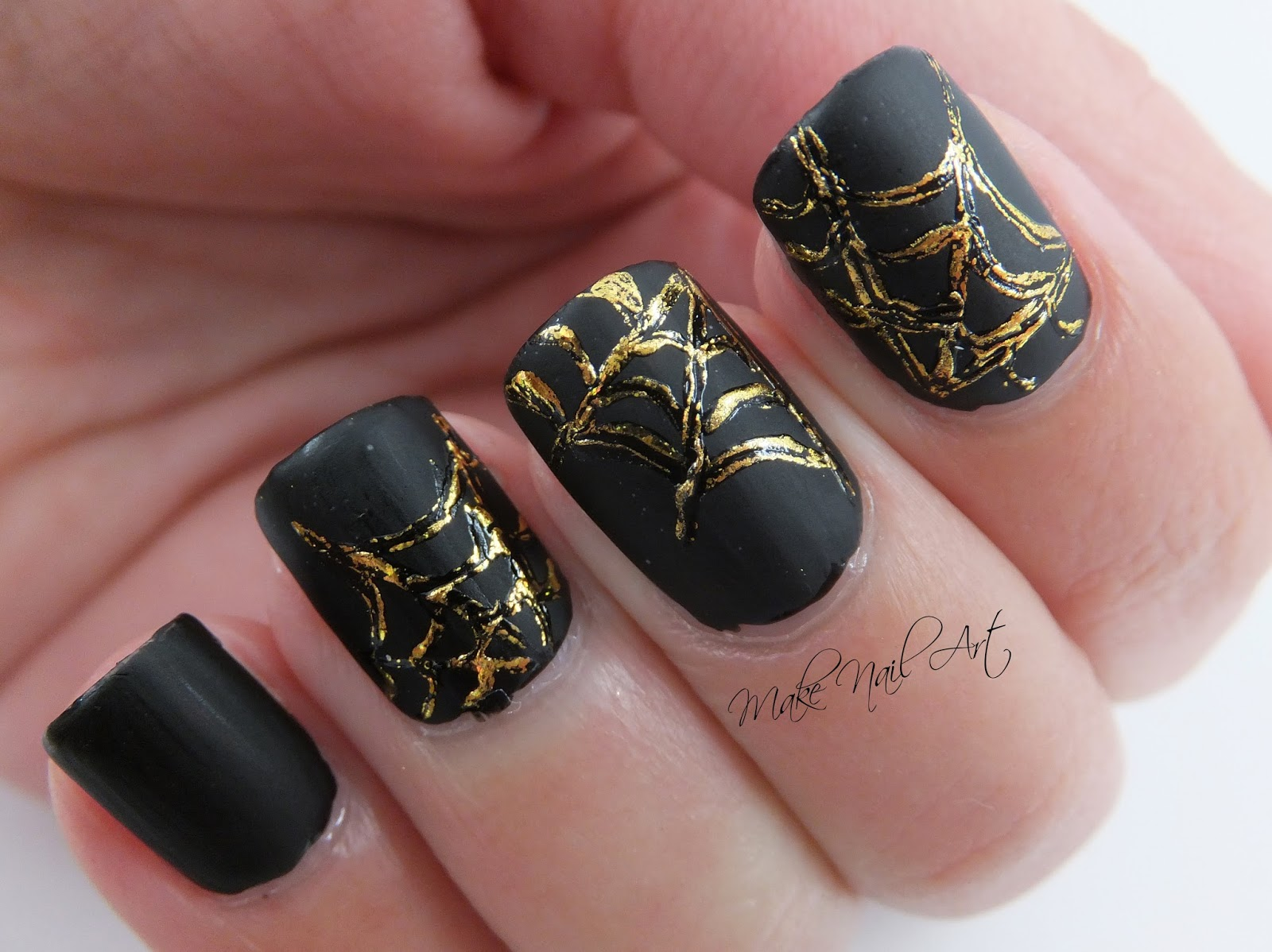 I Really Like How This Halloween Manicure Turned Out The Gold Foil Looks Very Good Over Matte Black Backgroung Hope Youll It Too