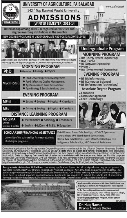 Online PapersPk: University of Agriculture Faisalabad Admissions