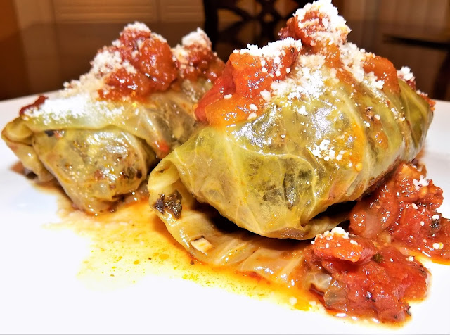 A picture of Freshly made stuffed cabbage rolls