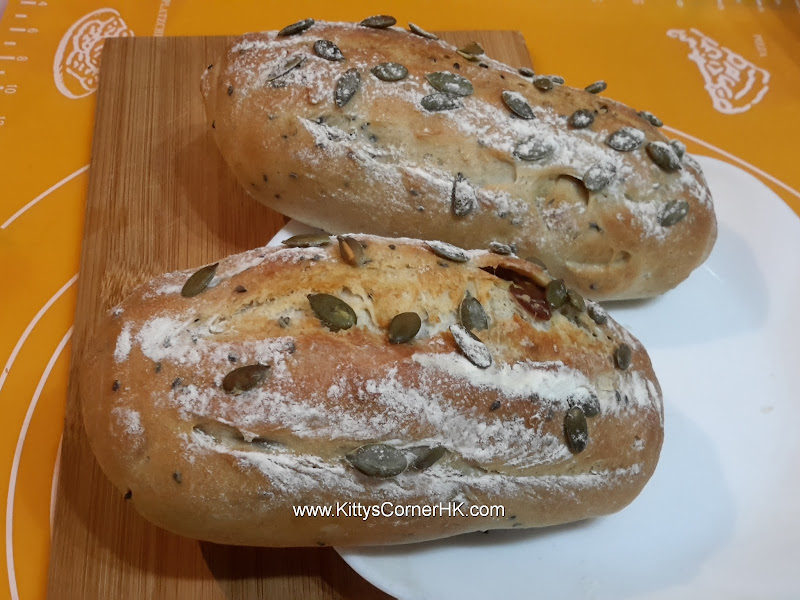 Dark Rye French Bread with Longan and Pumpkin Seeds 桂圓(龍眼)南瓜子法包 自家食譜 home cooking recipes