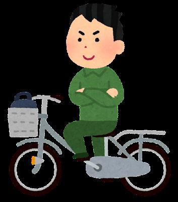 自転車の両手放し運転をする人のイラスト