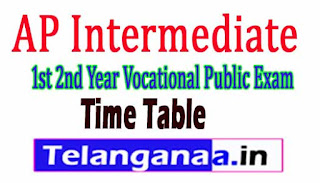 AP Intermediate 1st year Vocational IPE Exam Time Table 2017