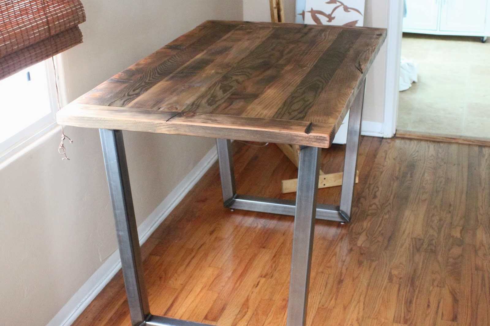 Rustic Dining Table With Metal Legs