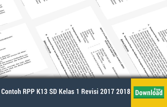Contoh RPP K13 SD Kelas 1 Revisi 2017 2018