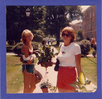 The best sister, helping me move into my first college dorm at Radford University in 1980.