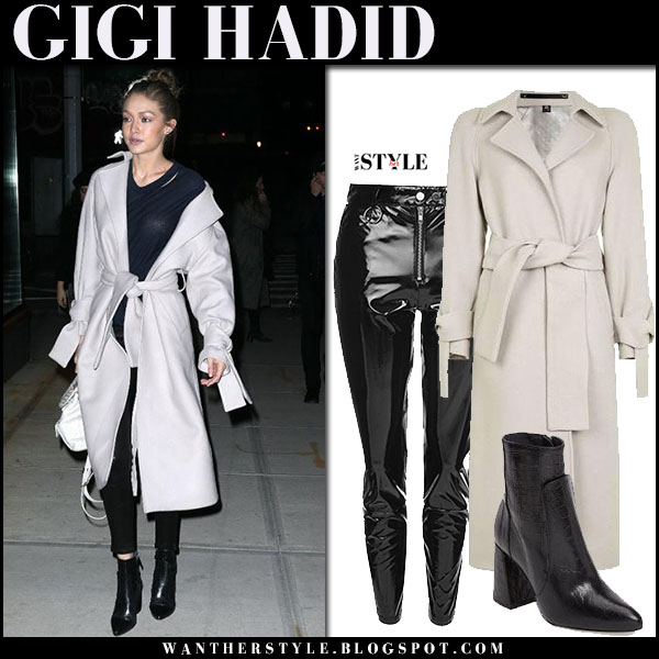 Gigi Hadid in grey wool coat and black vinyl pants topshop nyfw outfit what she wore