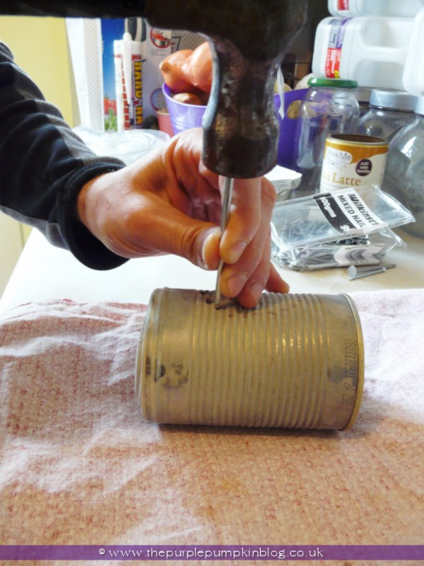 ~Tin Can Luminaries {Crafty October} at The Purple Pumpkin Blog~