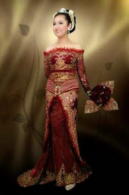 Kebaya Flower Merah Maroon