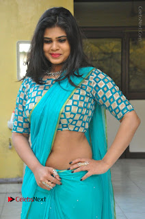 Telugu Actress Alekhya Stills in Green Saree at Swachh Hyderabad Cricket Press Meet  0037.JPG