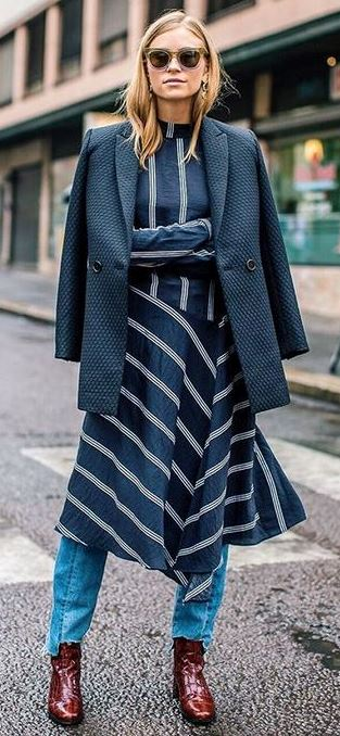 Shades of blue / coat + stripped dress + jeans + boots