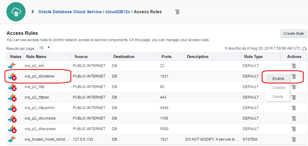 Oracle Database Cloud Service Enable Access