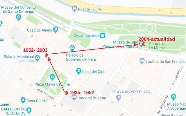 Emplazamientos de la estatua ecuestre de Francisco Pizarro en la ciudad de Lima