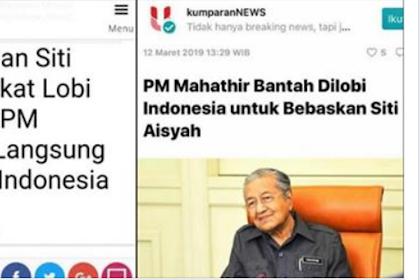 PM Mahathir Bantah Dilobi Indonesia untuk Bebaskan Siti Aisyah. Itu Sesuai Hukum