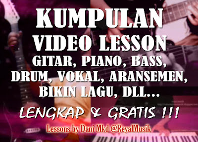 Video Belajar Tutorial Lesson Gitar Elektrik Akustik, Piano Keyboard, Bass, Drum, Vokal