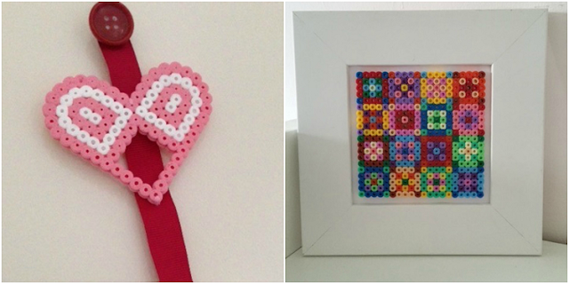 Hama bead heart and quilt style picture
