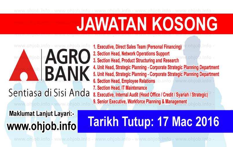 Jawatan Kerja Kosong Bank Pertanian Malaysia Berhad (AgroBank) logo www.ohjob.info mac 2016