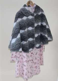 Julia Woven Nightshirt with Lilly Cape in Charcoal