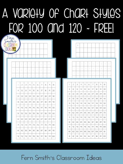 Fern\u0027s Freebie Friday ~ 100 Chart and 120 Chart Freebie - Fern